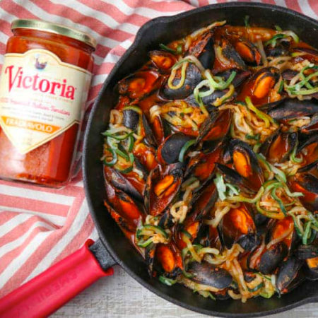 Image of Mussels Fra Diavolo with Zucchini Noodles and Victoria Pasta Sauce